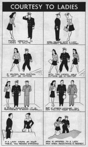 """Courtesy to Ladies"" from Bureau of Naval Personnel Information Bulletin, August 1944."
